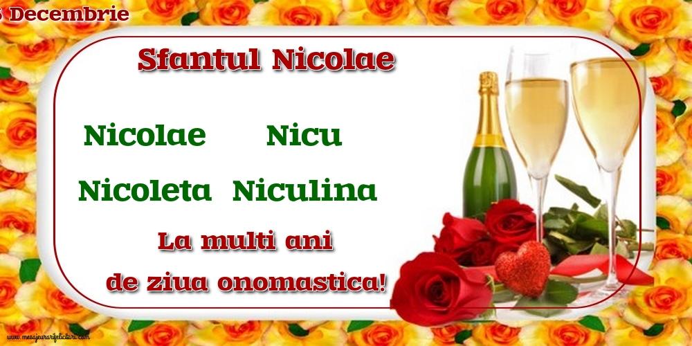 6 Decembrie - Sfantul Nicolae - Felicitari onomastice de Sfantul Nicolae cu sampanie
