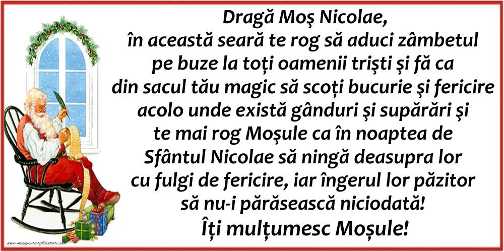 Scrisoare frumoasă pentru Moș Nicolae - Felicitari onomastice de Sfantul Nicolae