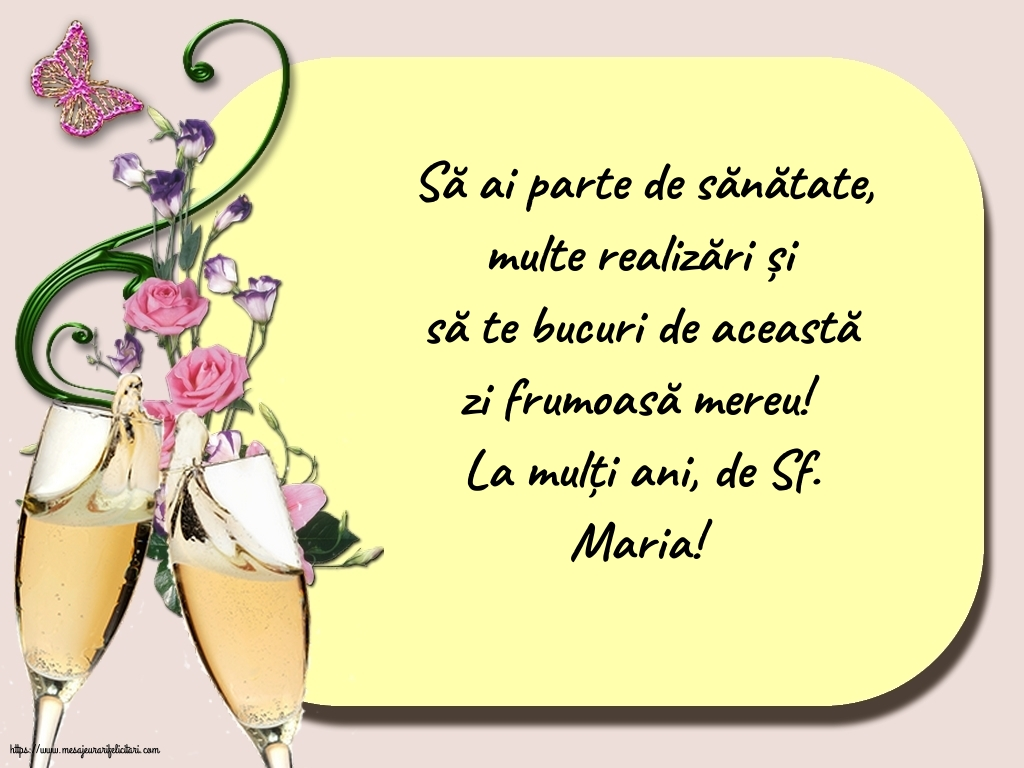 La mulți ani, de Sf. Maria! - Felicitari onomastice de Sfanta Maria Mica cu mesaje