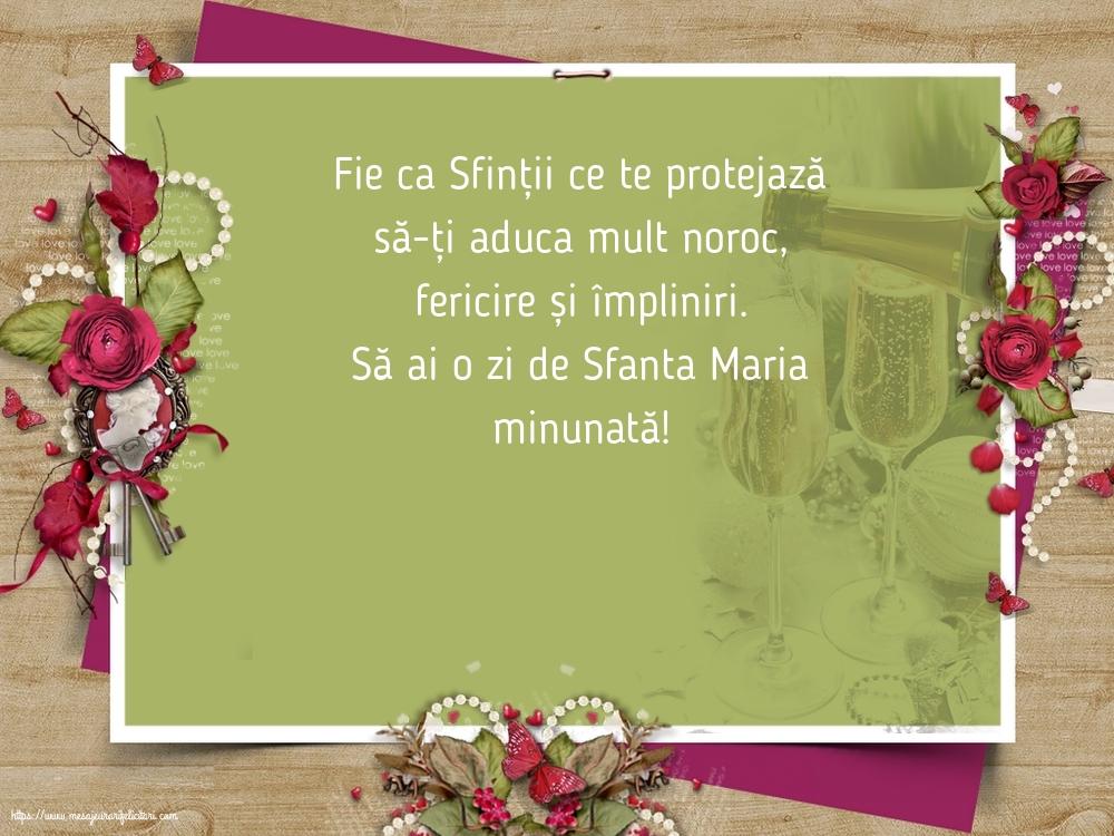 Să ai o zi de Sfanta Maria minunată! - Felicitari onomastice de Sfanta Maria Mica cu mesaje