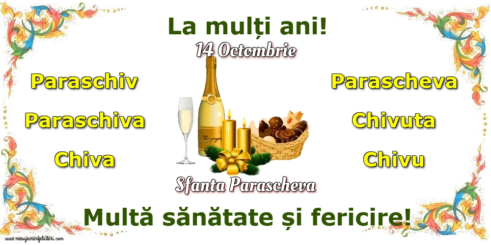 14 Octombrie - Sfanta Parascheva - Felicitari onomastice de Sfanta Parascheva cu sampanie