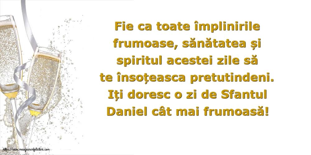 Iți doresc o zi de Sfantul Daniel cât mai frumoasă! - Felicitari onomastice de Sfantul Daniel cu mesaje
