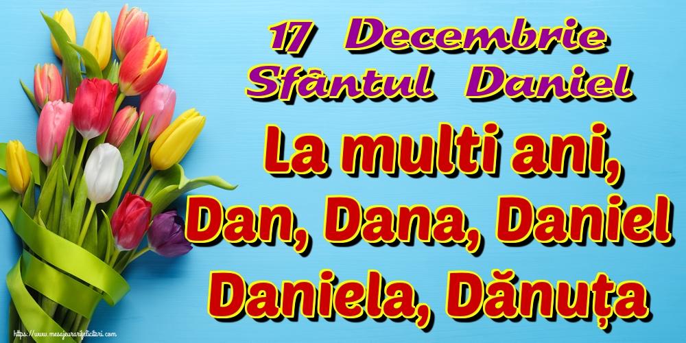 17 Decembrie Sfântul Daniel La multi ani, Dan, Dana, Daniel Daniela, Dănuța - Felicitari onomastice de Sfantul Daniel