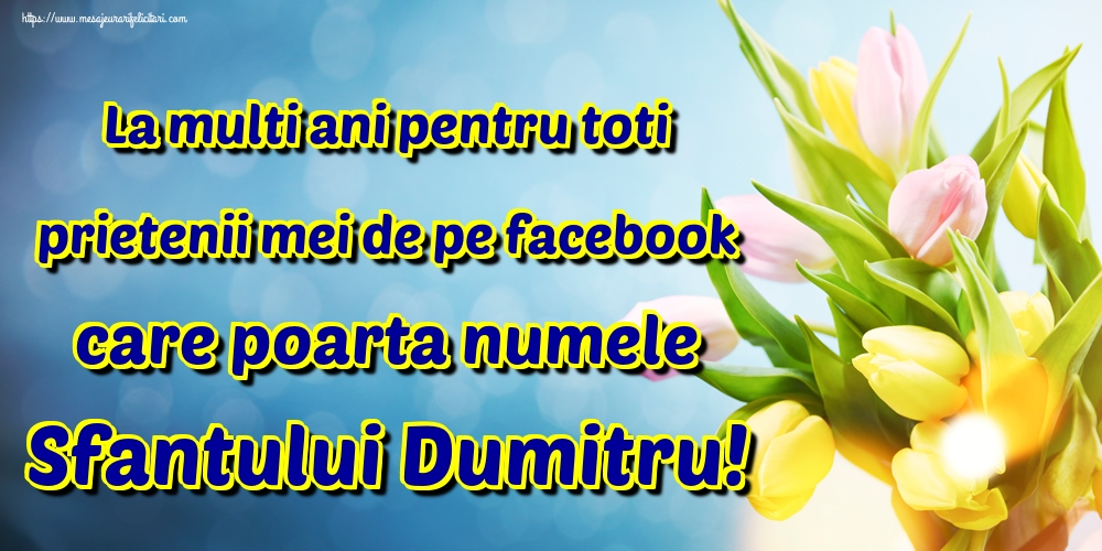 La multi ani pentru toti prietenii mei de pe facebook care poarta numele Sfantului Dumitru! - Felicitari onomastice de Sfantul Dumitru
