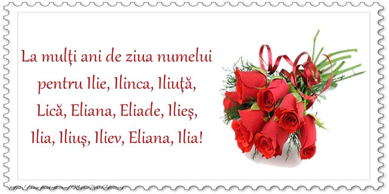 La mulţi ani de ziua numelui - Felicitari onomastice de Sfantul Ilie cu flori