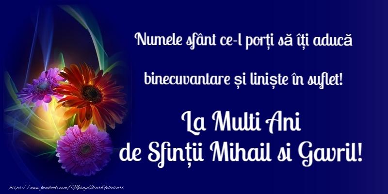 La multi ani de Sfintii Mihail si Gavril! - Felicitari onomastice de Sfintii Mihail si Gavril cu flori
