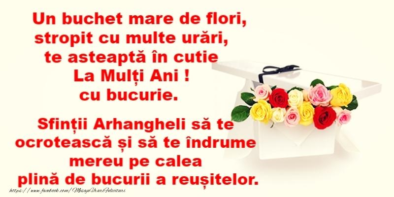 La multi ani de Sfintii Mihail si Gavril! - Felicitari onomastice de Sfintii Mihail si Gavril cu trandafiri