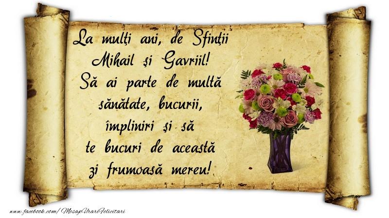 La mulţi ani, de Sfinţii Mihail şi Gavriil - Felicitari onomastice de Sfintii Mihail si Gavril cu flori