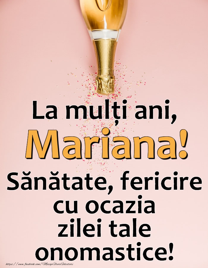 La mulți ani, Mariana! Sănătate, fericire cu ocazia zilei tale onomastice! - Felicitari onomastice cu sampanie
