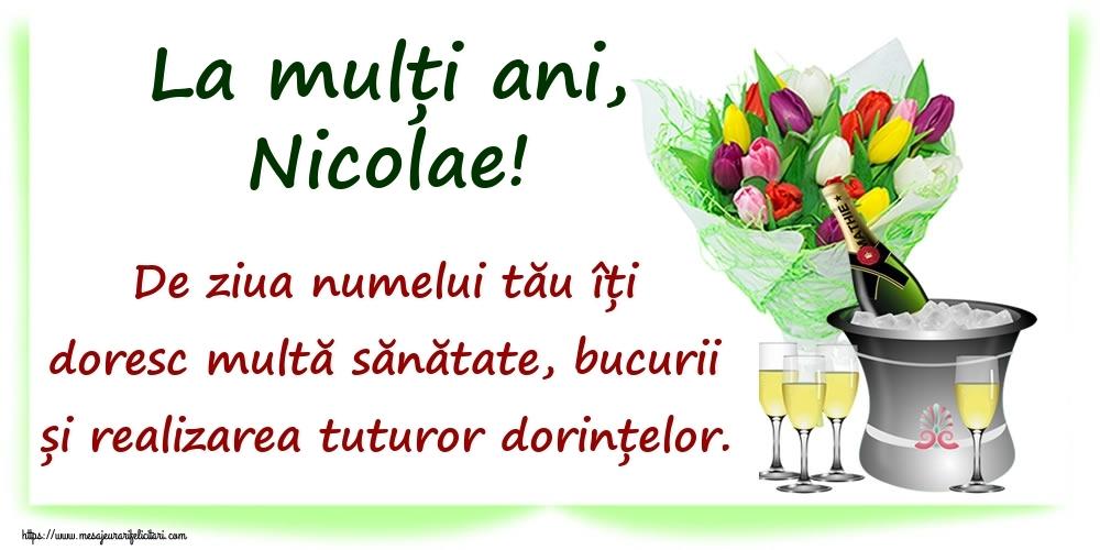 La mulți ani, Nicolae! De ziua numelui tău îți doresc multă sănătate, bucurii și realizarea tuturor dorințelor. - Felicitari onomastice