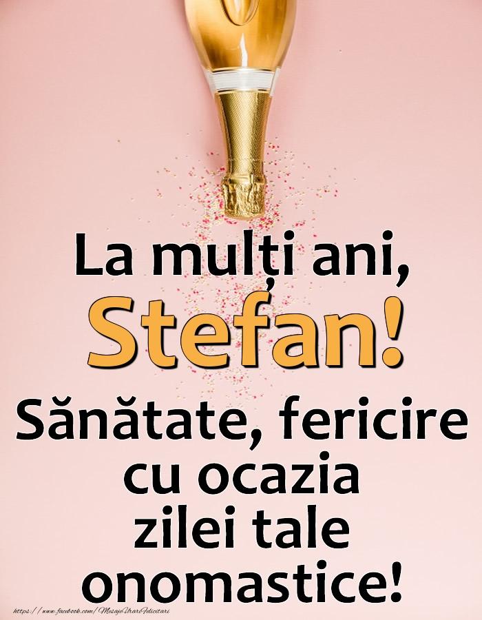 La mulți ani, Stefan! Sănătate, fericire cu ocazia zilei tale onomastice! - Felicitari onomastice cu sampanie